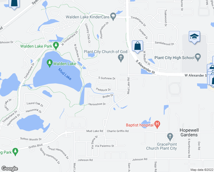 map of restaurants, bars, coffee shops, grocery stores, and more near 1705 Sagebrush Road in Plant City