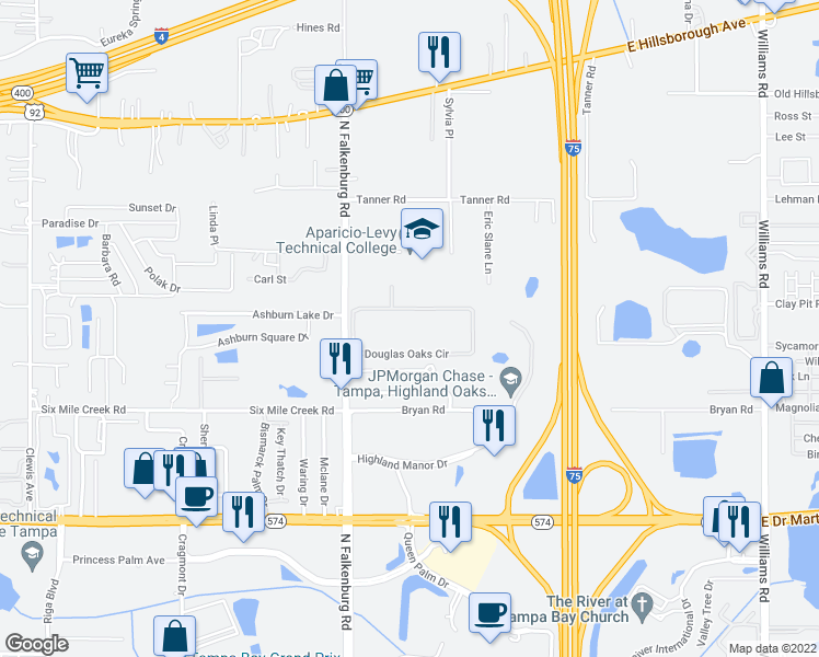 map of restaurants, bars, coffee shops, grocery stores, and more near 10246 Douglas Oaks Circle in Tampa