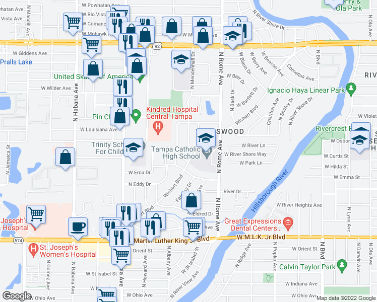 map of restaurants, bars, coffee shops, grocery stores, and more near 4804 North Mendenhall Drive in Tampa