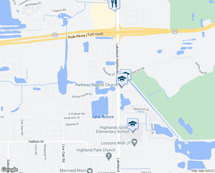map of restaurants, bars, coffee shops, grocery stores, and more near 2101 Hatteras Point in Lakeland