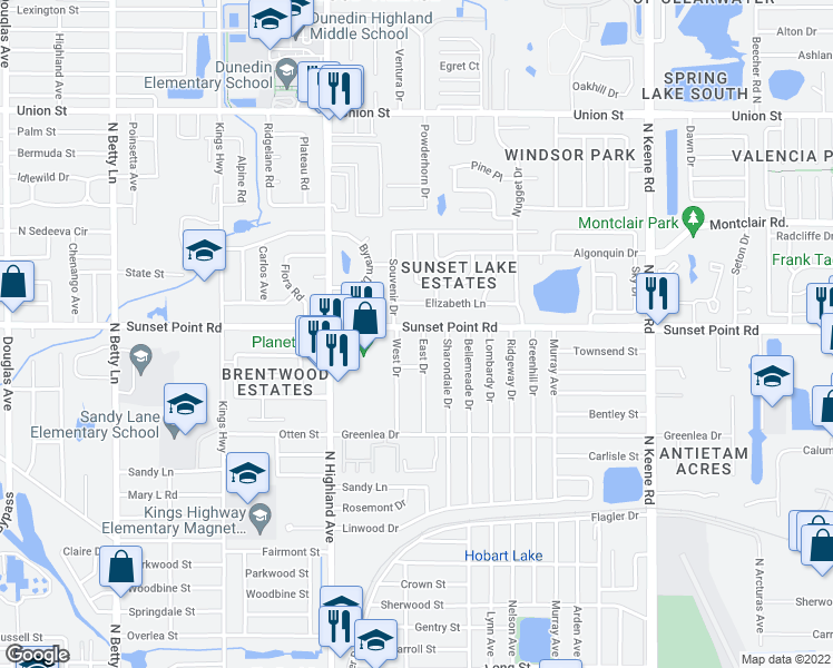 map of restaurants, bars, coffee shops, grocery stores, and more near 1569 Sunset Point Road in Clearwater