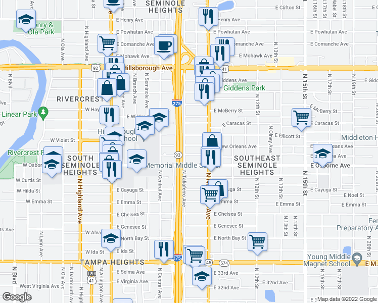 map of restaurants, bars, coffee shops, grocery stores, and more near 804 East Louisiana Avenue in Tampa