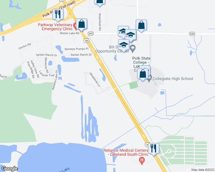 map of restaurants, bars, coffee shops, grocery stores, and more near 4256 Birch Pond Loop in Lakeland