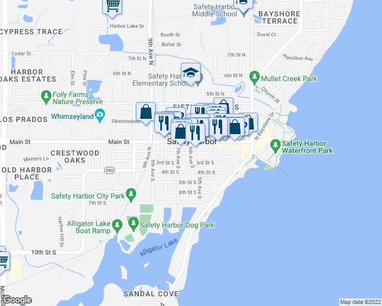 map of restaurants, bars, coffee shops, grocery stores, and more near 2nd Street South in Safety Harbor