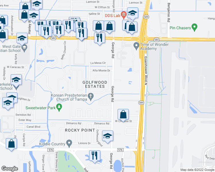 map of restaurants, bars, coffee shops, grocery stores, and more near 4806 Sierra Madre Drive in Tampa