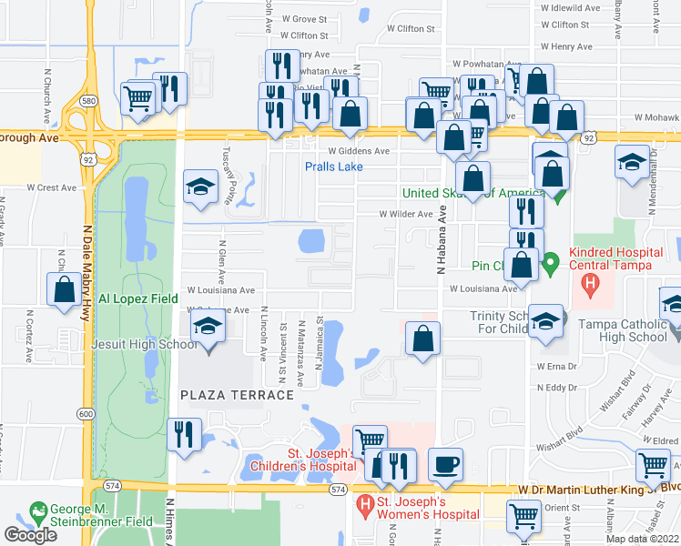 map of restaurants, bars, coffee shops, grocery stores, and more near 4900 North Macdill Avenue in Tampa