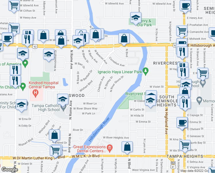 map of restaurants, bars, coffee shops, grocery stores, and more near 4813 N Shirley Dr in Tampa
