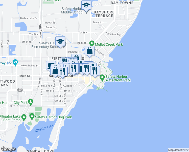 map of restaurants, bars, coffee shops, grocery stores, and more near 105 North Bayshore Drive in Safety Harbor