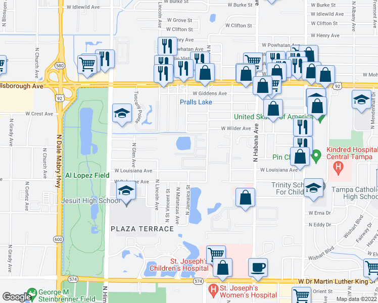 map of restaurants, bars, coffee shops, grocery stores, and more near 4902 North Macdill Avenue in Tampa
