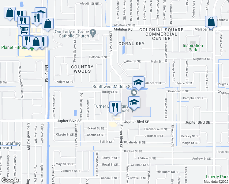 map of restaurants, bars, coffee shops, grocery stores, and more near Alameda Avenue Southeast in Palm Bay