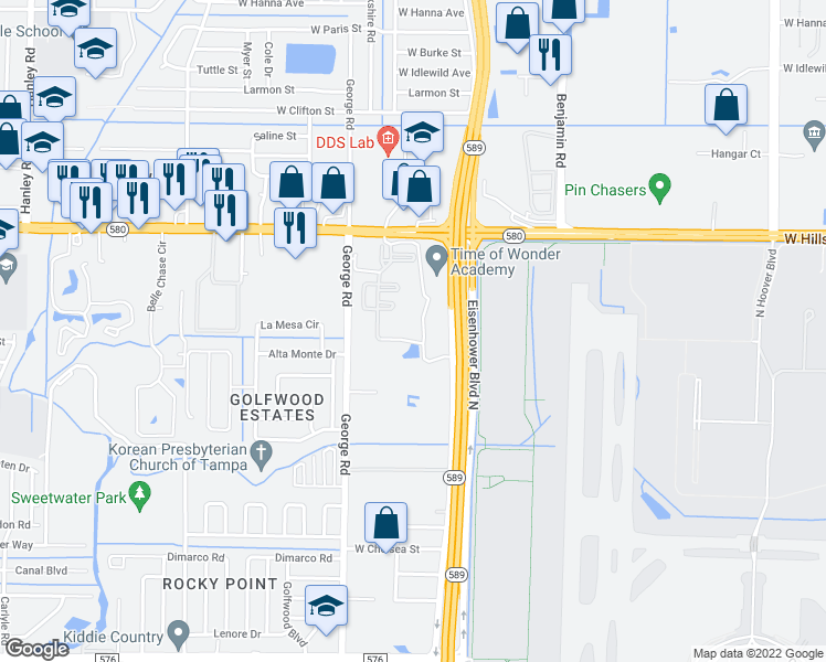 map of restaurants, bars, coffee shops, grocery stores, and more near 6105 Paddock Glen Drive in Tampa