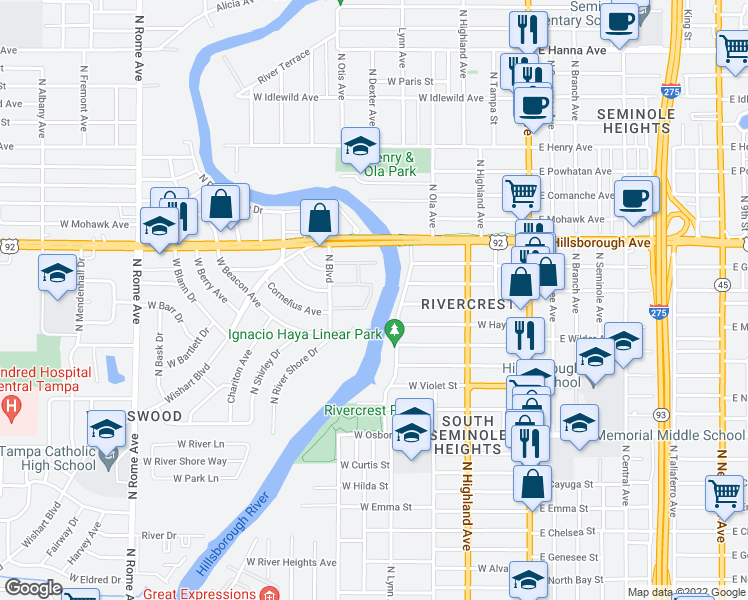 map of restaurants, bars, coffee shops, grocery stores, and more near 5205 North Boulevard in Tampa
