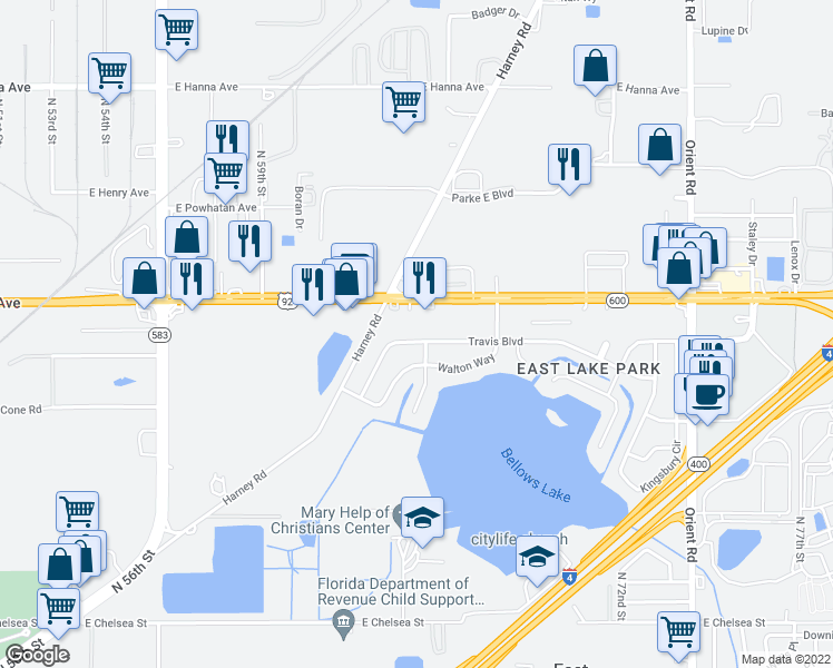 map of restaurants, bars, coffee shops, grocery stores, and more near 6230 Travis Boulevard in Tampa