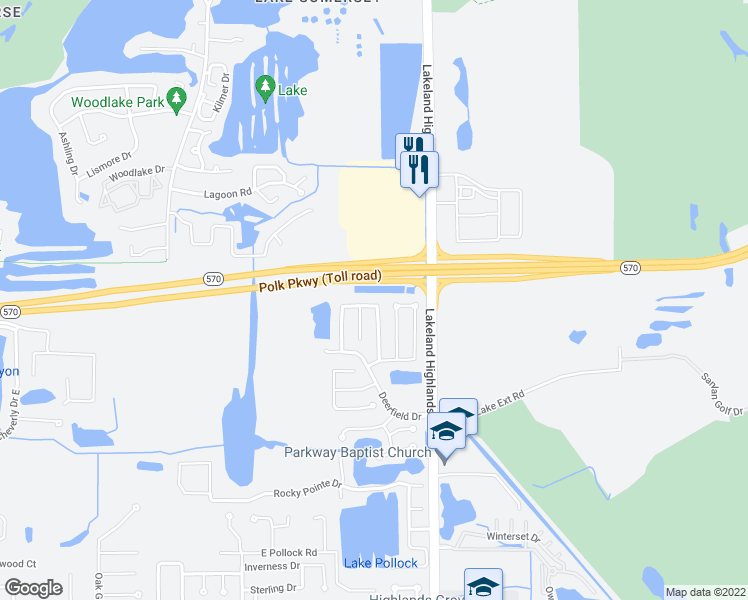 map of restaurants, bars, coffee shops, grocery stores, and more near 2052 Bent Tree Loop North in Lakeland