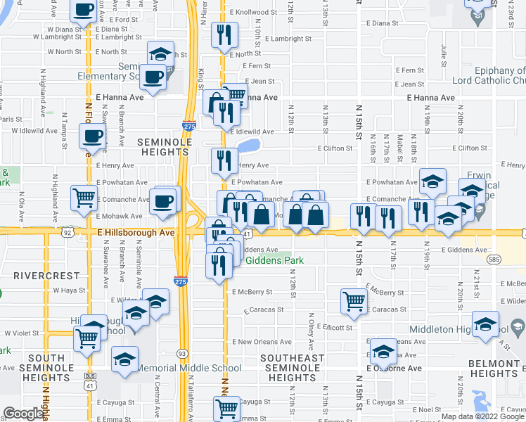 map of restaurants, bars, coffee shops, grocery stores, and more near 1015 East Comanche Avenue in Tampa