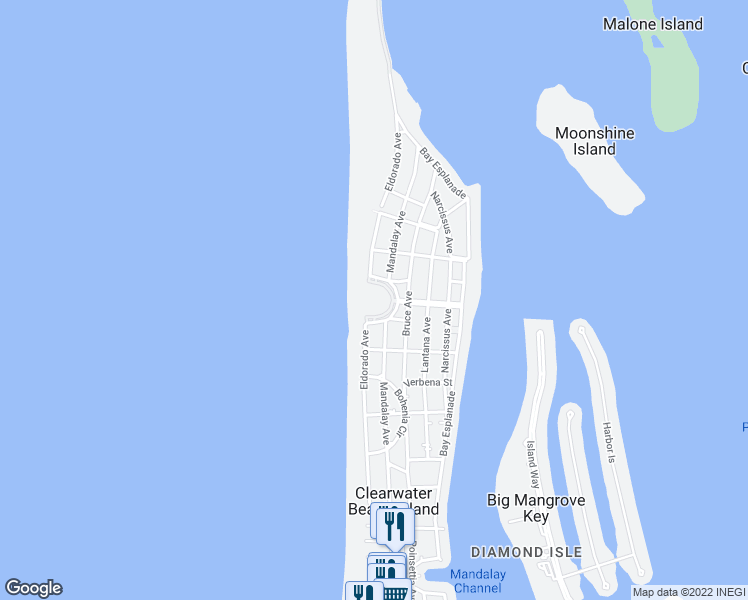 map of restaurants, bars, coffee shops, grocery stores, and more near 880 Mandalay Avenue in Clearwater