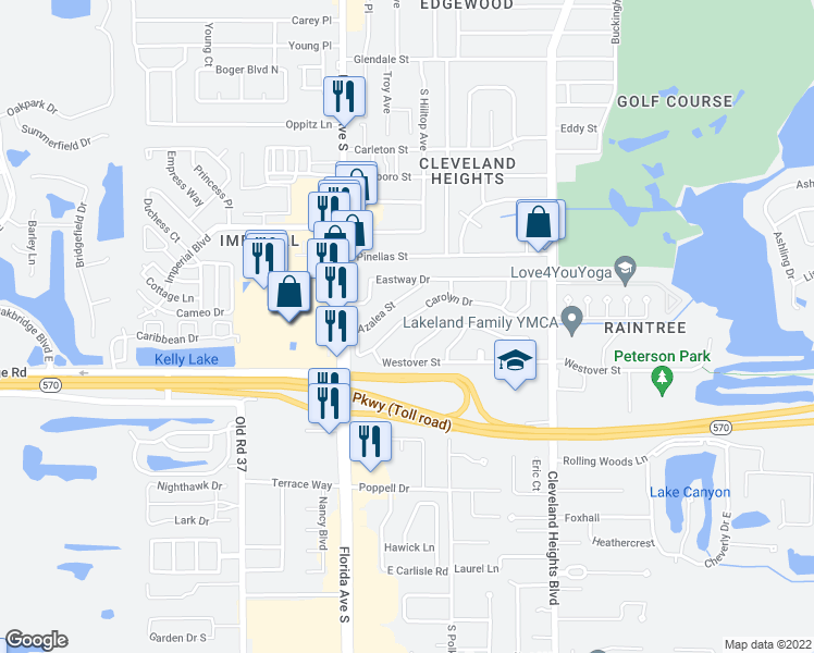 map of restaurants, bars, coffee shops, grocery stores, and more near 209 Carolyn Drive in Lakeland