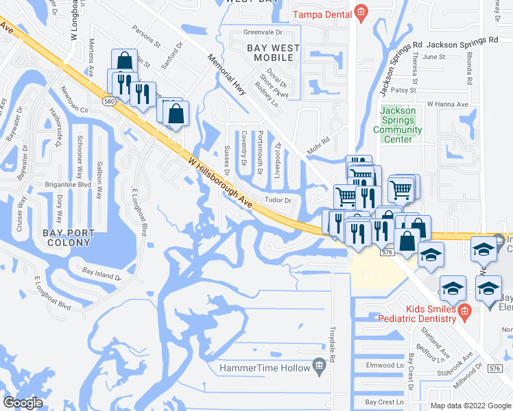 map of restaurants, bars, coffee shops, grocery stores, and more near West Hillsborough Avenue in Tampa