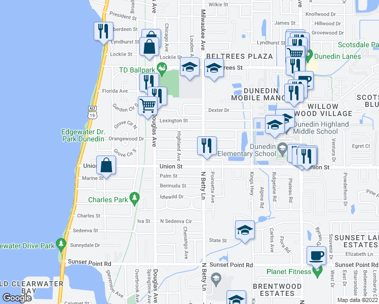 map of restaurants, bars, coffee shops, grocery stores, and more near 525 Richmond Street in Dunedin