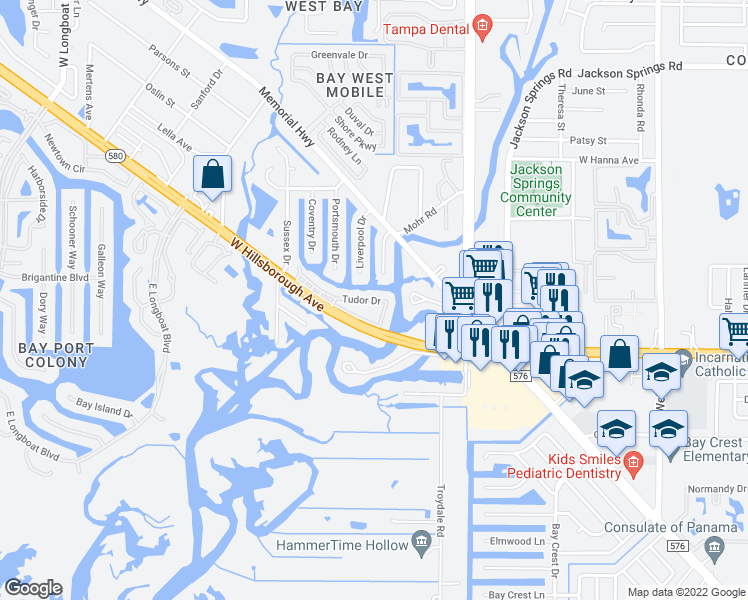 map of restaurants, bars, coffee shops, grocery stores, and more near 9221 Tudor Drive in Tampa
