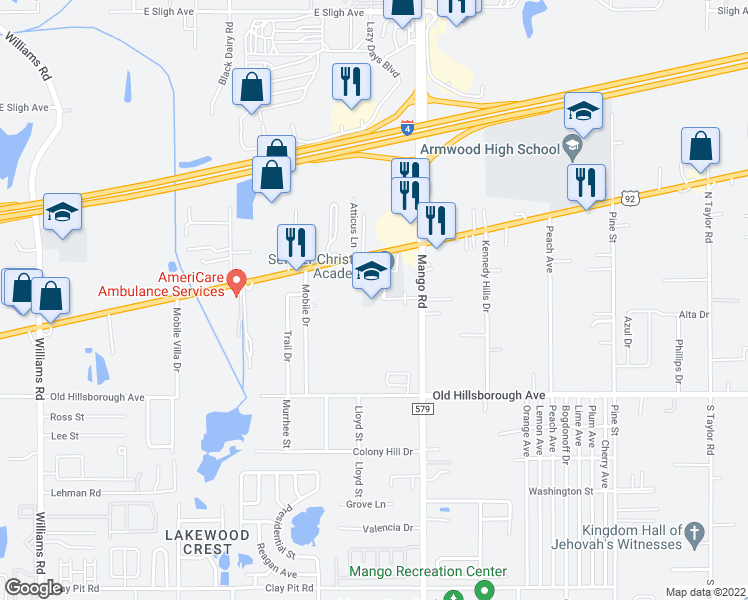 map of restaurants, bars, coffee shops, grocery stores, and more near 11605 U.S. 92 in Seffner