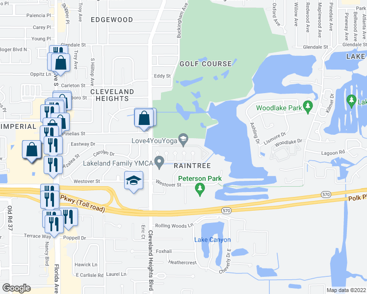 map of restaurants, bars, coffee shops, grocery stores, and more near 3520 Cleveland Heights Boulevard in Lakeland