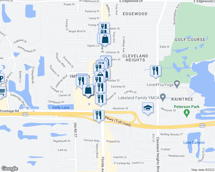 map of restaurants, bars, coffee shops, grocery stores, and more near 129 Pinellas Street in Lakeland