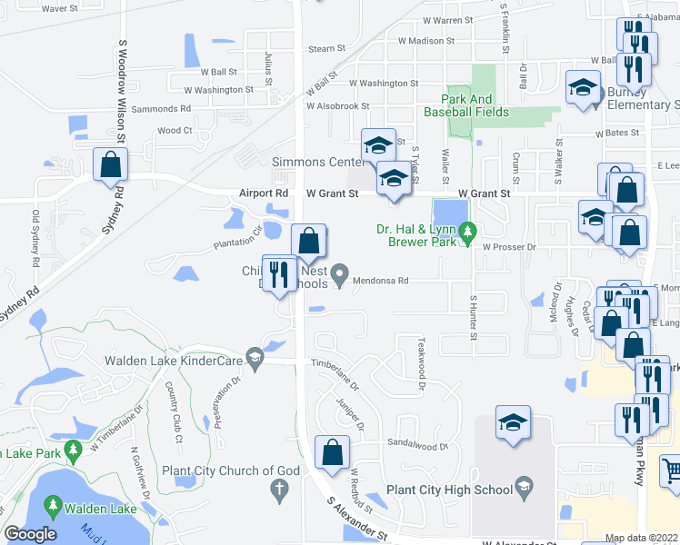map of restaurants, bars, coffee shops, grocery stores, and more near 1310 Mendonsa Road in Plant City