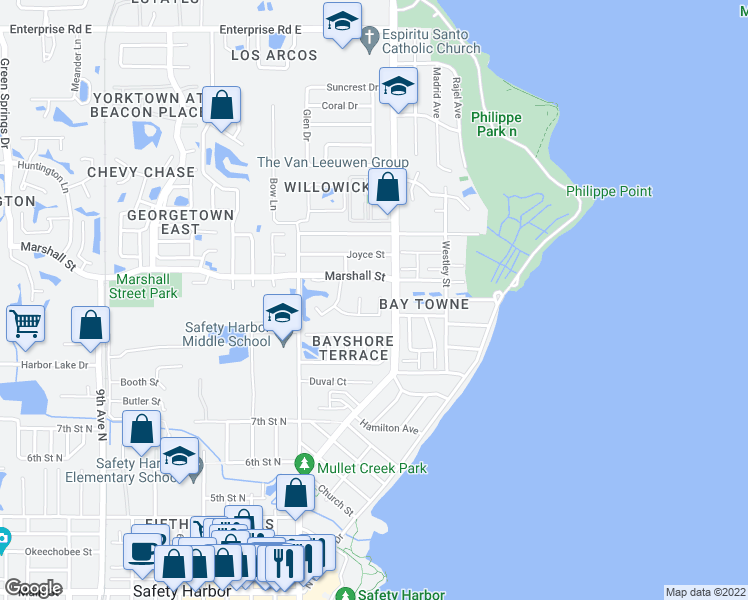 map of restaurants, bars, coffee shops, grocery stores, and more near 1403 Kittery Ct in Safety Harbor