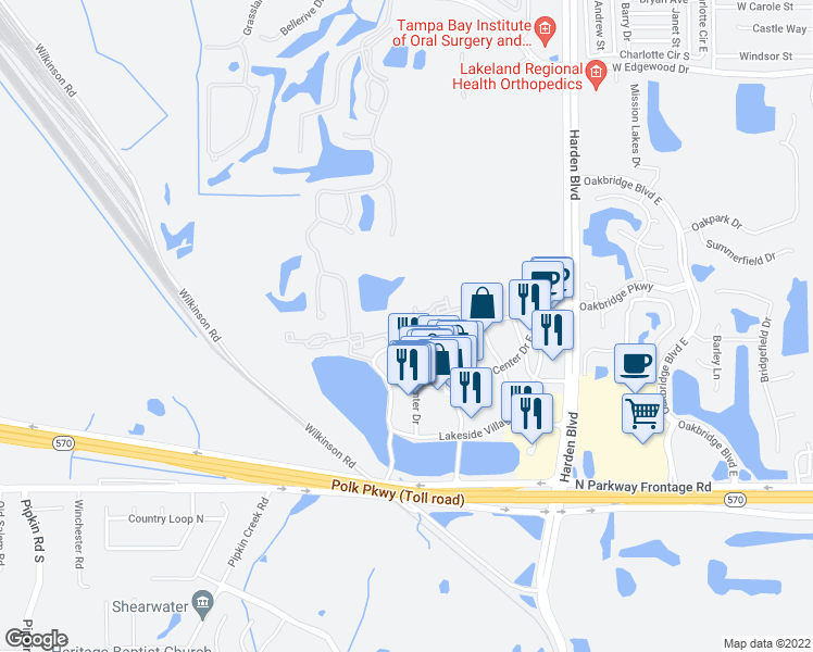 map of restaurants, bars, coffee shops, grocery stores, and more near 1555 Village Center Drive in Lakeland