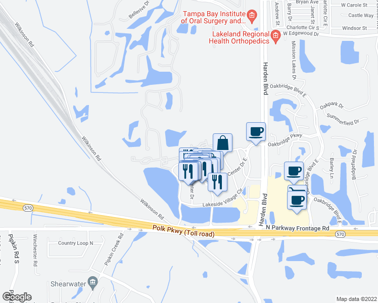 map of restaurants, bars, coffee shops, grocery stores, and more near 121572 Village Center Drive in Lakeland
