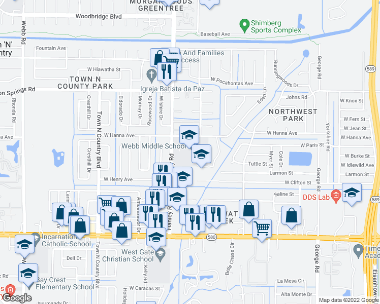 map of restaurants, bars, coffee shops, grocery stores, and more near 6039 Hanley Road in Tampa
