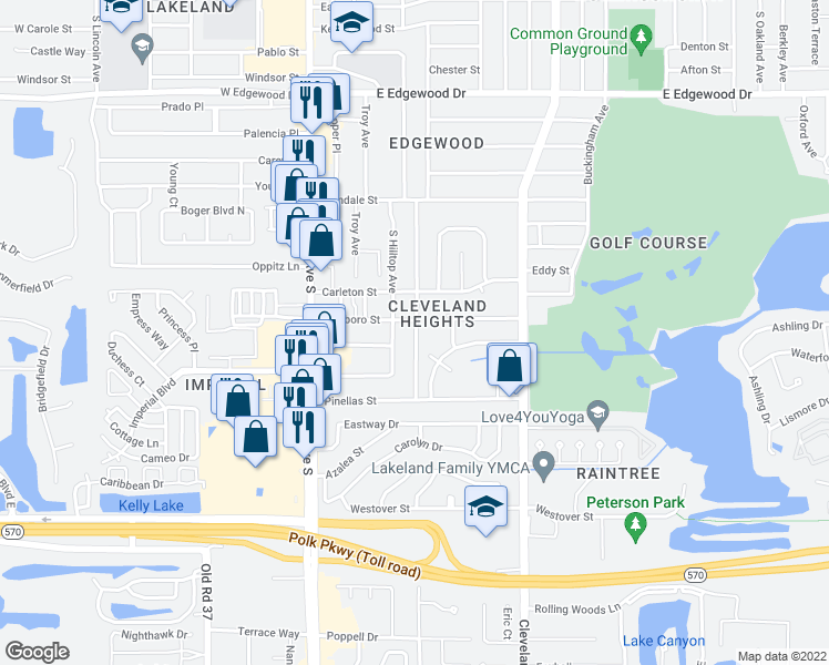map of restaurants, bars, coffee shops, grocery stores, and more near 3248 South Polk Avenue in Lakeland
