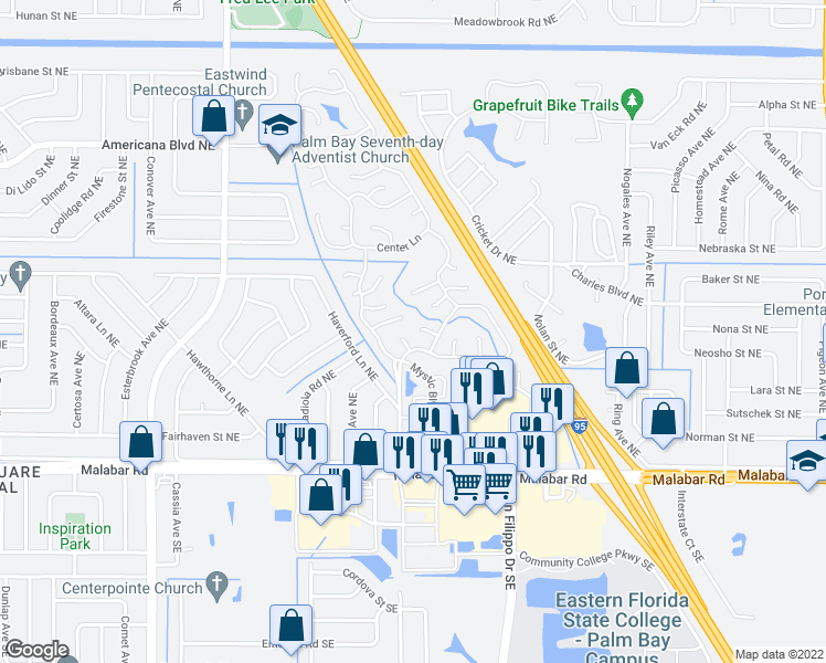 map of restaurants, bars, coffee shops, grocery stores, and more near 1120 Floral Court Northeast in Palm Bay