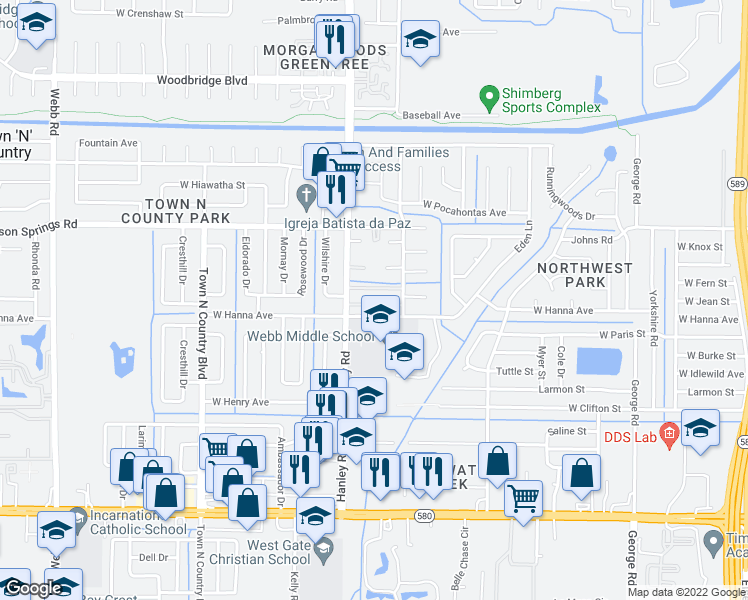 map of restaurants, bars, coffee shops, grocery stores, and more near 7315 West Hanna Avenue in Tampa