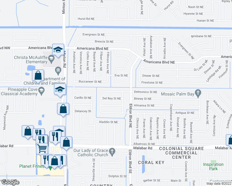 map of restaurants, bars, coffee shops, grocery stores, and more near 312 Delmonico Street Northeast in Palm Bay