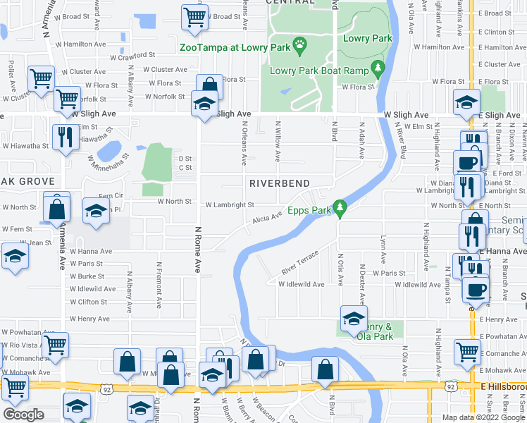 map of restaurants, bars, coffee shops, grocery stores, and more near 1315 Alicia Avenue in Tampa