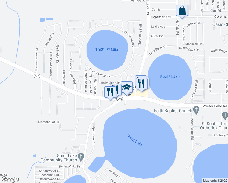 map of restaurants, bars, coffee shops, grocery stores, and more near 3064 Saint Paul Drive in Winter Haven