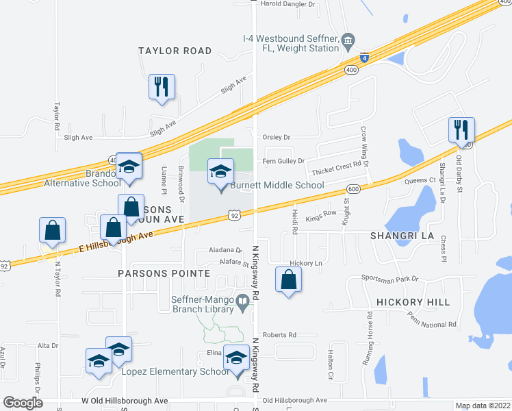 map of restaurants, bars, coffee shops, grocery stores, and more near 102 U.S. 92 in Seffner