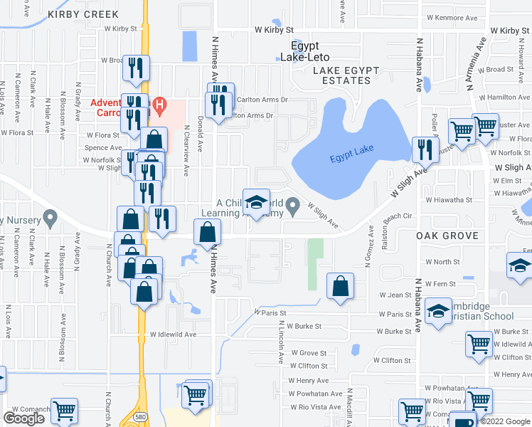 map of restaurants, bars, coffee shops, grocery stores, and more near 3101-5903 Alene Street in Tampa