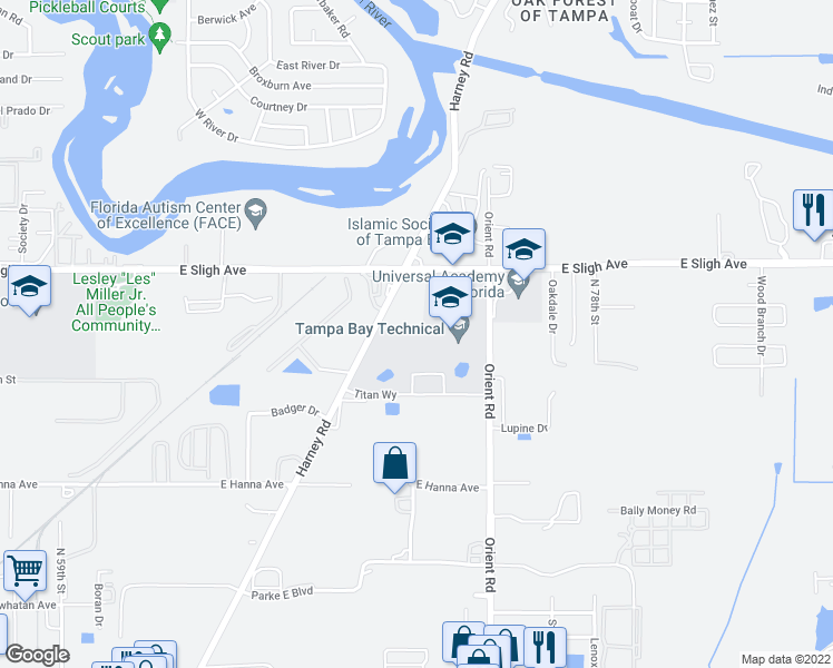 map of restaurants, bars, coffee shops, grocery stores, and more near 6410 Orient Road in Tampa