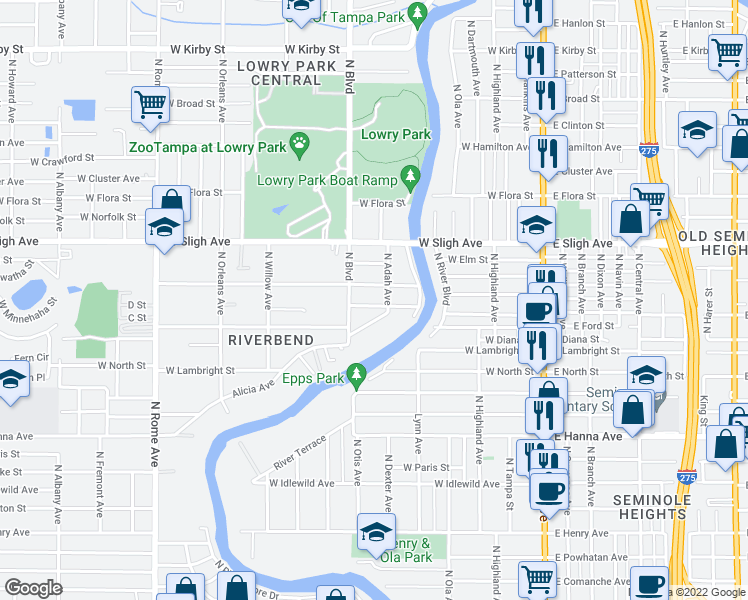 map of restaurants, bars, coffee shops, grocery stores, and more near 807 West Minnehaha Street in Tampa