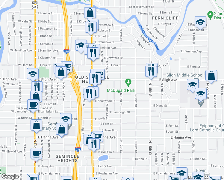 map of restaurants, bars, coffee shops, grocery stores, and more near 6714 North 11th Street in Tampa