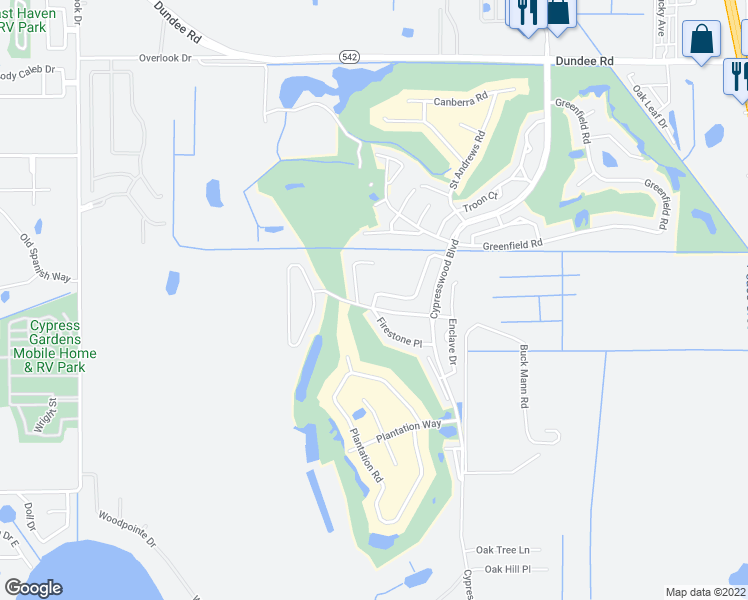 map of restaurants, bars, coffee shops, grocery stores, and more near 1708 Eagle Pond Drive in Winter Haven