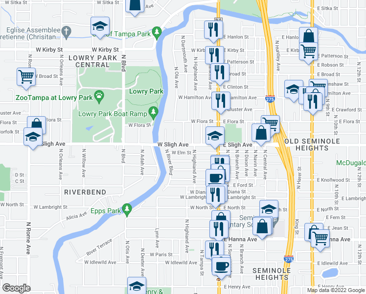 map of restaurants, bars, coffee shops, grocery stores, and more near 6901-6999 Lynn Avenue in Tampa