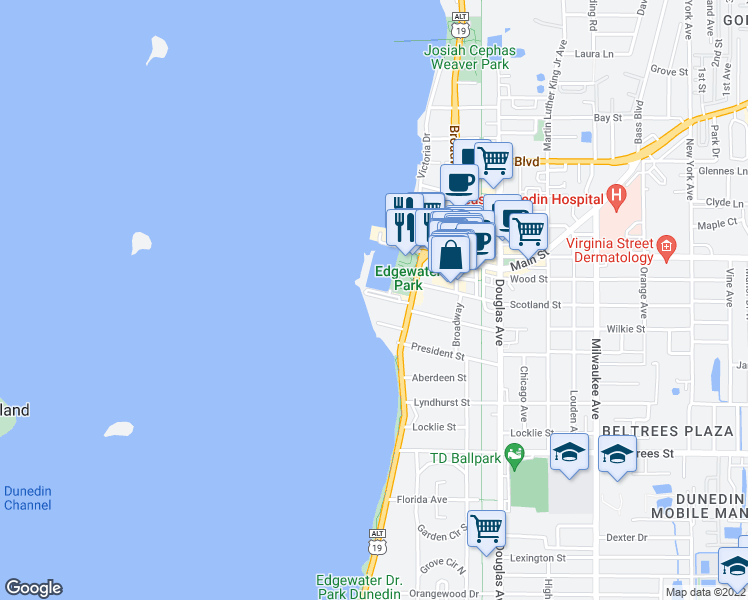 map of restaurants, bars, coffee shops, grocery stores, and more near 634 Edgewater Drive in Dunedin