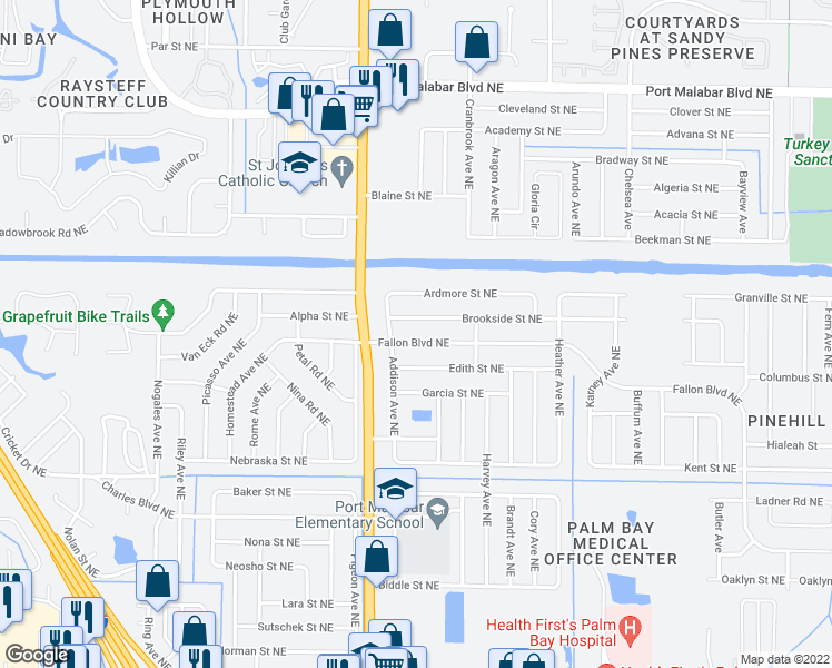 map of restaurants, bars, coffee shops, grocery stores, and more near 1755 Fallon Boulevard Northeast in Palm Bay