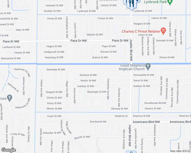 map of restaurants, bars, coffee shops, grocery stores, and more near 1120 Kareena Street Northwest in Palm Bay
