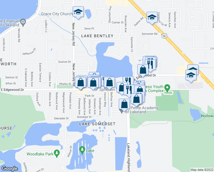 map of restaurants, bars, coffee shops, grocery stores, and more near 1920 East Edgewood Drive in Lakeland