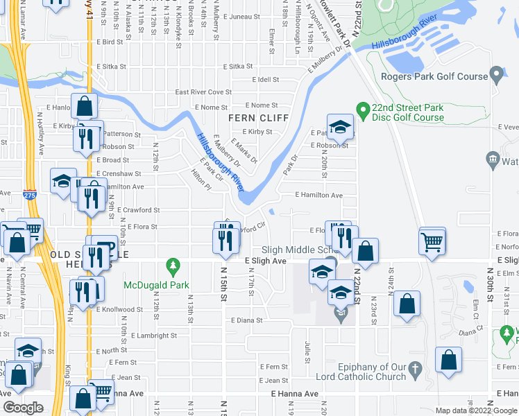 map of restaurants, bars, coffee shops, grocery stores, and more near East Park Circle in Tampa